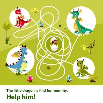 Labirinto labirinto jogo de crianças. Dragões dos desenhos animados, ajudar a encontrar caminho para ovo