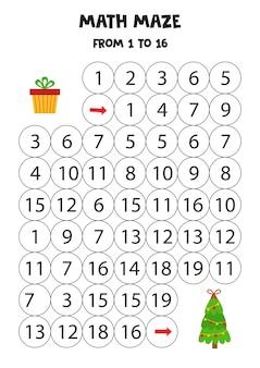 Labirinto matemático com árvore de natal e caixa de presente. planilha educacional. conte de 1 a 16.