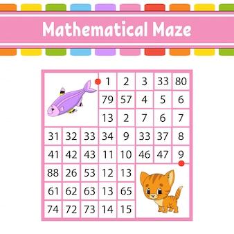 Labirinto matemático. jogo para crianças. número labirinto. planilha de desenvolvimento de educação. página de atividade.
