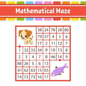 Labirinto matemático. jogo para crianças. número labirinto. planilha de desenvolvimento de educação.