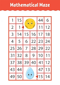 Labirinto matemático. jogo para crianças.