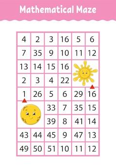 Labirinto matemático, jogo para crianças.