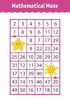 Labirinto matemático, jogo para crianças,