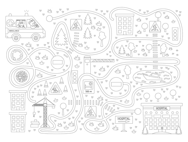 Labirinto médico para crianças em fundo preto