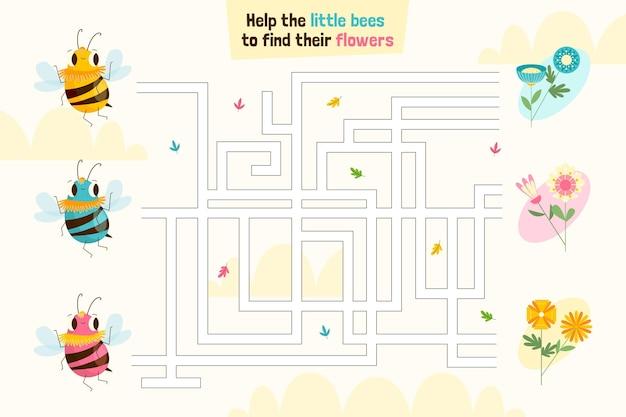 Labirinto para crianças com abelhas e flores