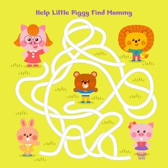 Labirinto para crianças com animais fofos