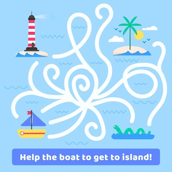 Labirinto para crianças com barco e ilha