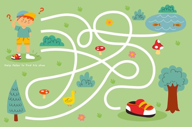 Labirinto para crianças com crianças e árvores