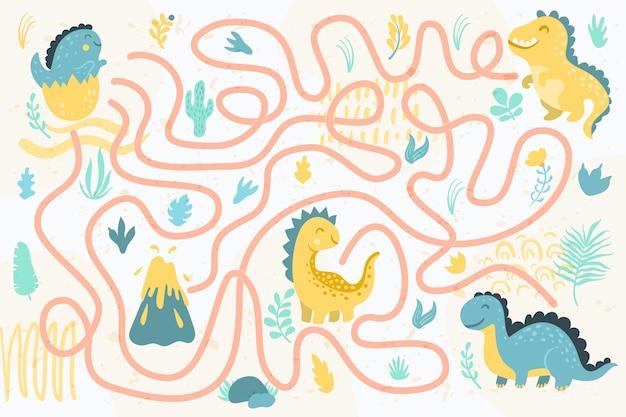 Labirinto para crianças com dinossauros