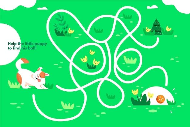 Labirinto para crianças com ilustração de cachorro