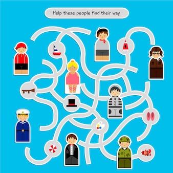 Labirinto para crianças com ilustrações de pessoas