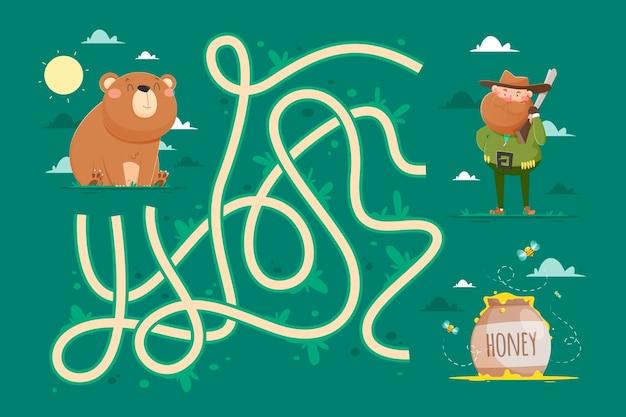 Labirinto para crianças com urso e caçador
