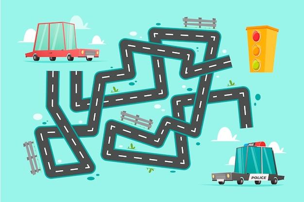 Labirinto para crianças com veículos