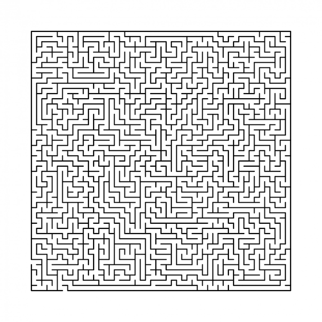 Labirinto preto e branco difícil