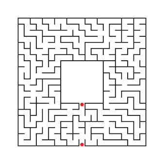 Labirinto quadrado abstrato preto