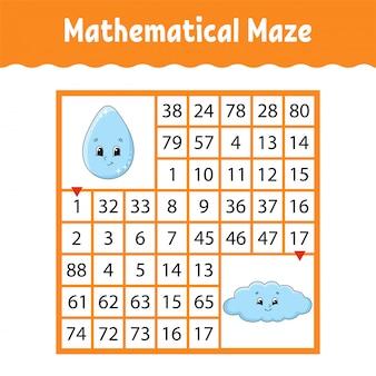 Labirinto quadrado colorido matemático.