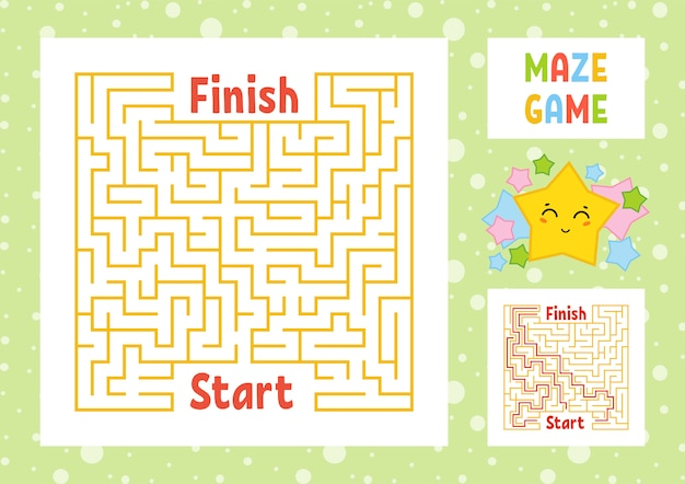 Labirinto quadrado de cor. encontre o caminho certo do início ao fim.