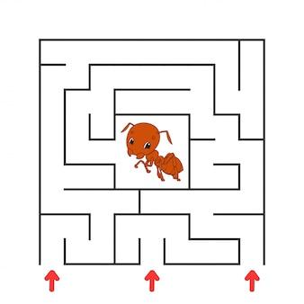 Labirinto quadrado engraçado. jogo para crianças. quebra-cabeça para crianças. personagem de desenho animado.