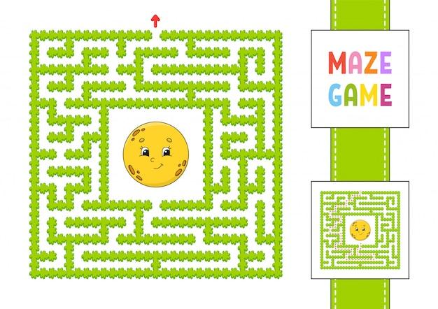 Labirinto quadrado engraçado, jogo para crianças.
