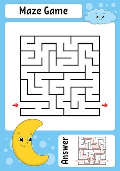 Labirinto quadrado jogo para crianças labirinto engraçado 1
