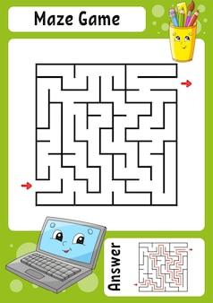 Labirinto quadrado. jogo para crianças. labirinto engraçado. planilha de desenvolvimento de educação. página de atividades.
