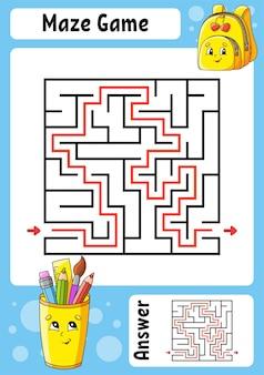 Labirinto quadrado. jogo para crianças. labirinto engraçado. planilha de desenvolvimento de educação.