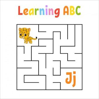 Labirinto quadrado. jogo para crianças. labirinto quadrático.