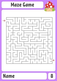 Labirinto quadrado. jogo para crianças. quebra-cabeça para crianças. enigma do labirinto.