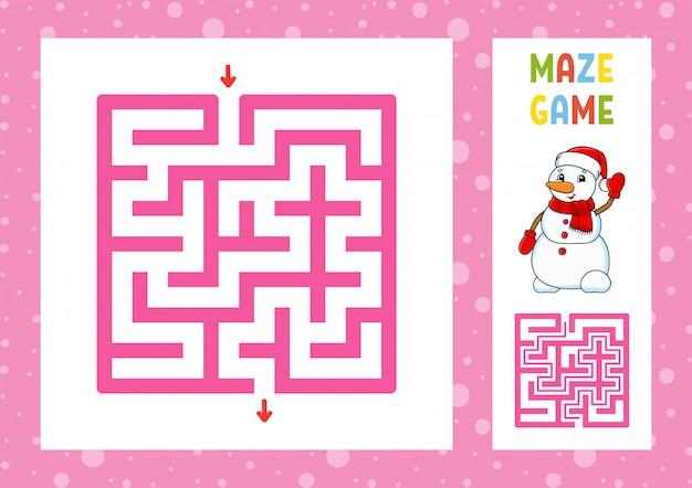 Labirinto quadrado. jogo para crianças. quebra-cabeça para crianças. tema de natal.