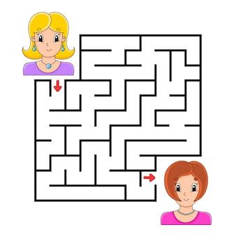 Labirinto quadrado. jogo para crianças. quebra-cabeça para crianças.