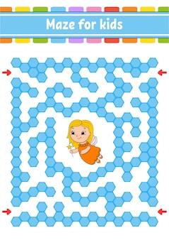 Labirinto retangular de cores. jogo para crianças. labirinto engraçado.