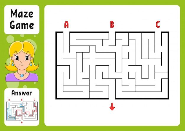 Labirinto retangular. jogo para crianças. três entradas, uma saída. quebra-cabeça para crianças.