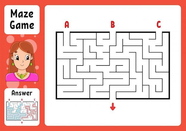 Labirinto retangular para crianças