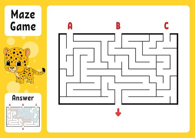 Labirinto retângulo. jogo para crianças. três entradas, uma saída.