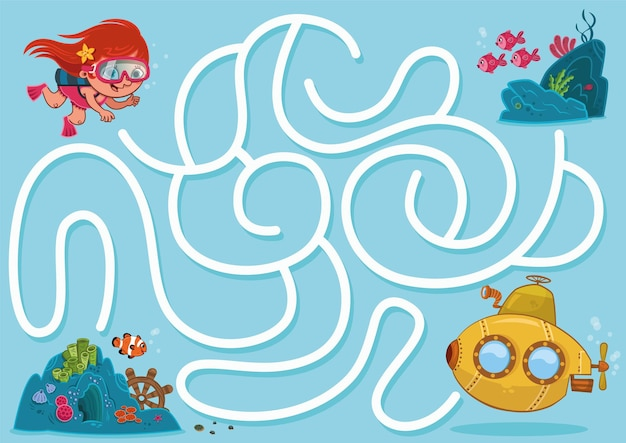 Labirinto subaquático com um submarino e uma menina. ilustração vetorial