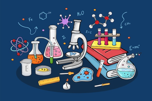 Laboratório conceito vetorial ilustração química pesquisa em equipamento de laboratório para experimento científico tu ...