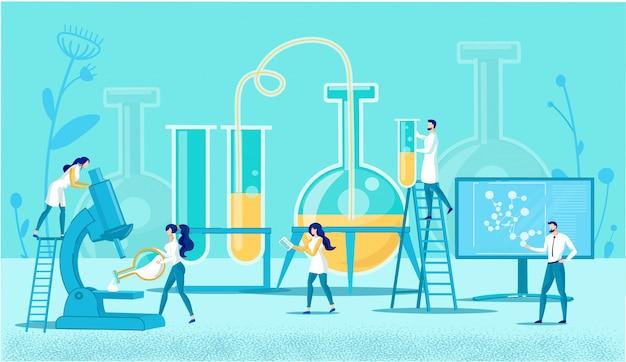 Laboratório criativo com equipamentos e funcionários.