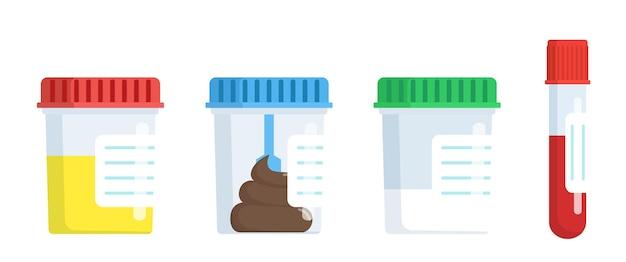 Laboratório de análises médicas, fezes de urina, sêmen e sangue em potes de plástico.
