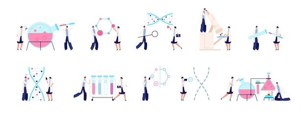 Laboratório de bioquímica. cientista colorido, pesquisa de dna genético. conjunto de vetores de teste de laboratório de medicina química biológica bactérias. laboratório de pesquisa de ilustração, testes científicos e bioquímicos