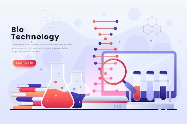Laboratório de biotecnologia gradiente ilustrado
