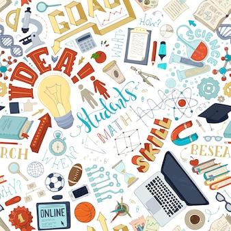 Laboratório de ciência matemática e elementos de pesquisa no padrão de doodles sem costura