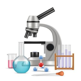 Laboratório de ciências 3d. itens de física de biologia para testes e experiências em tubos de vidro de microscópio de laboratório vector composição realista