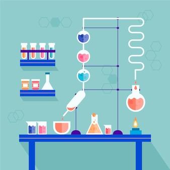 Laboratório de ciências com diferentes objetos