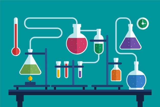 Laboratório de ciências com elementos