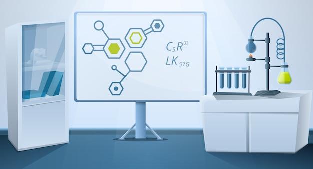 Laboratório de ciências com ilustração de equipamento