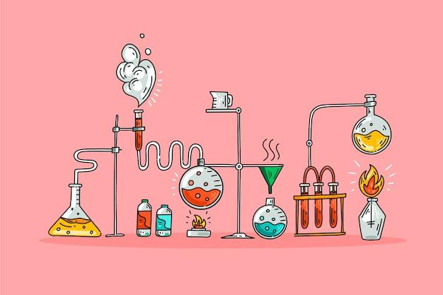 Laboratório de ciências com objetos
