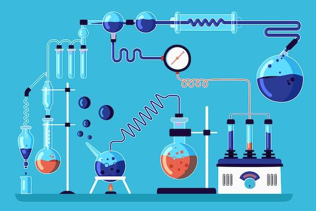 Laboratório de ciências desenhado à mão
