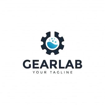Laboratório de ciências e modelo de design de logotipo de engrenagem mecânica