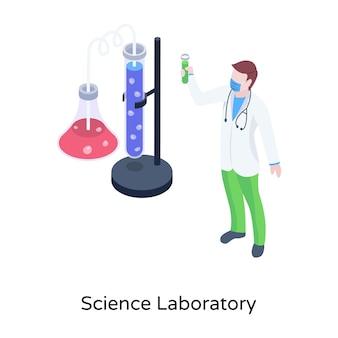 Laboratório de ciências em ilustração isométrica