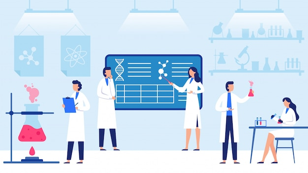 Laboratório de ciências. equipamentos de laboratório científico, pesquisa científica profissional e ilustração de trabalhadores de cientista